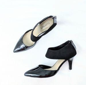 Ellen Tracy Black Patent Leather Ankle Strap Pumps